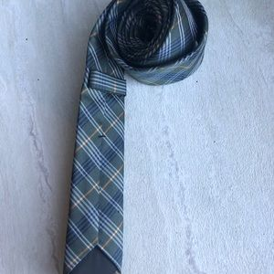 Zara man skinny tie plaid  blue green